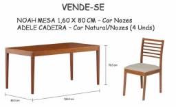 Tokstok Conj mesa rústica com 4 cadeiras(Seminovo)