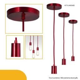 Pendente Uno  Vermelho Rubi Kit 3 Und