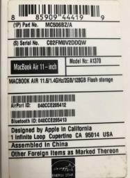 Macbook Air 11,6/1.4ghz/2gb ram/128gb ssd prata