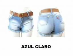 Kit 5 Shortinho Jeans Feminino, Cós Alto, Cinto Brinde