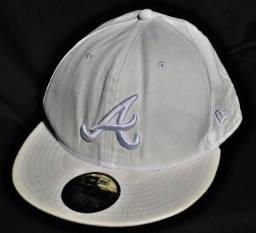 Boné 5950 Atlanta Braves MLB o r i g i n a l Aba Reta Branco New Era Tamanho 7 3/8!!!!!