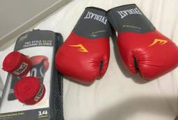 Kit Muay Thai Everlast Vermelho com bolsa
