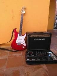 Kit guitarra, caixa e pedaleira
