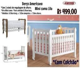 Berço americano mini cama lila com colchão, Entrega em 3 dias