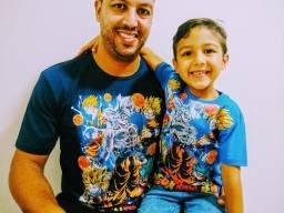 Kit 2 Camisetas personalizadas Tal pai Tal filho Dragon boll super