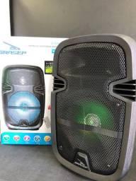 Caixa de Som Amplificada Portátil com Microfone-(Lojas Wiki)