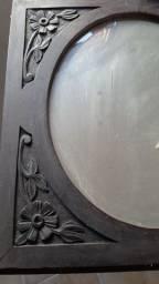 Espelho bisonte com moldura em jacarandá