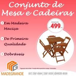 Promoção Jogo Novo de Mesa e Cadeiras de Madeira Dobrável