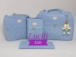 Kit bolsas maternidade azul pérola NOVO