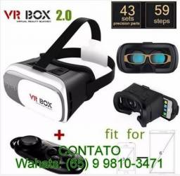 Óculos VR Box 2.0 Realidade Virtual 3D + Controle Bluetooth