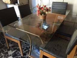 Linda Mesa de Vidro 6 cadeiras +Aparador de jantar
