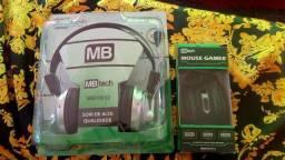 Kit Mouse Gamer + Fone de Ouvido C/ Microfone Embutido
