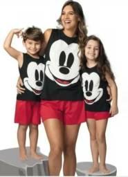 Kit Pijama Mickey Mãe e Filhos