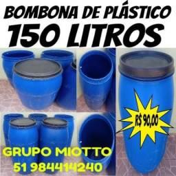 Bombona 150 Litros / Tambor / Galão / Tonel / Reservatório de plástico com Tampa Removivél