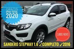 Sandero Stepway 1.6 4p Flex 2016 Branco - Impecável - Venha Conferir! - 2016