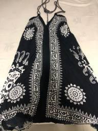 Vestido boho preto e branco