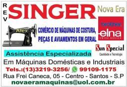 Máquinas de costura industrial e doméstica.