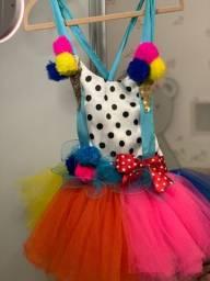 Fantasia palhacinha infantil alta costura luxo - com tiara