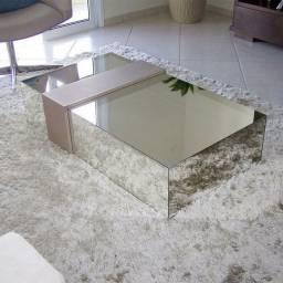 Mesa de centro espelhada baixa, lapidada Sala Moderna c/ detalhe em MDF