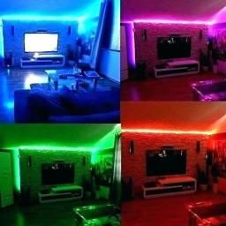 Fita de LED RGB c/ controle - Entrega Grátis
