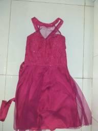 Vestido pink brilhoso de festa