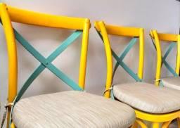 Título do anúncio: Cadeira Madeira Katrina Rivatti Amarelo<br><br>