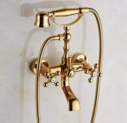 Misturador Clássico Ouro Ducha De Mão Banheira Vitoriana Agua Quente e Fria