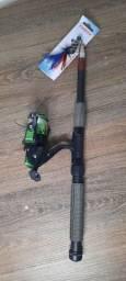 Vara para pesca completa, molinete, linha e anzol
