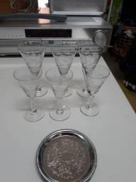 6 Taças de  Cristal lapidada