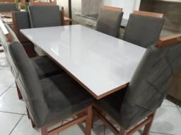 Mesa de vidro 1,60 x 0,90 6 cadeiras peça unica