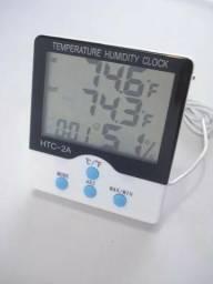 Termômetro Digital Com Relógio Interno E Externo
