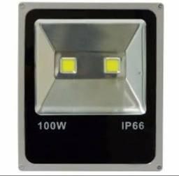 Refletor 100W Super Led IP66 Bivolt Slim Prova Dagua Branco Frio