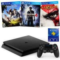 Playstation 4 slim God of war Remasterizado +Horizon Zero daw + Uncharted 4