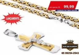 Kit Cordão + Crucifixo Grande Masculino Folheados Ouro 18k