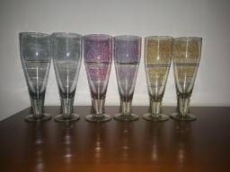 Jogo de tacas de cristal antigas