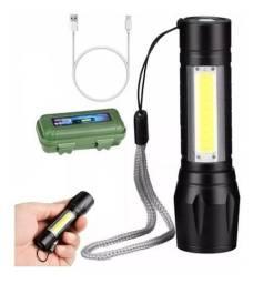 Mini lanterna led flash carregamento usb