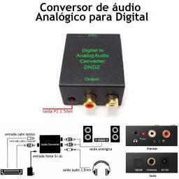 Conversor de Áudio Digital Otico Para Analógico Coaxial /Saida P2