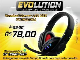 Fone De Ouvido Gaming Led Usb Stereo PS3 PS4 e PC
