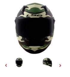Capacete LS2 FF358 Army Preto/verde fosco