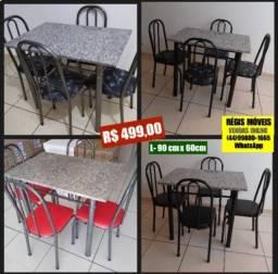 Conjunto de Mesa com 4 Cadeiras 90cm x 60 Granito Ocre Nova