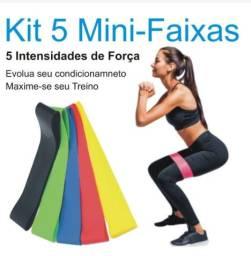 Kit 5 Faixas Elásticas de Resistência Pilates Treino Academia Malhar Fisioterapia