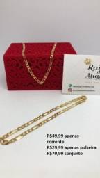 Título do anúncio: Correntes e pulseiras banhadas a ouro com pingentes