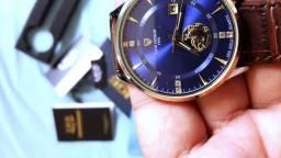 Lige Relógio masculino marca de Luxo Ultra fino