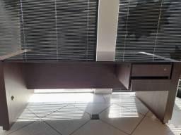 Queima Linda mesa de escritorio com vidro e 2 gavetas