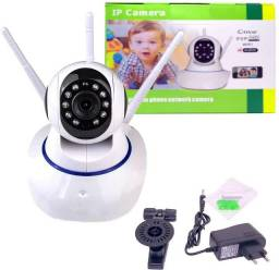 (Novo) Câmera Ip Wireless Sem Fio Wifi Hd 3 Antenas Sensor Noturna
