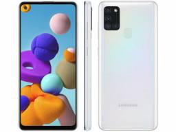 "Smartphone Samsung Galaxy A21s Dual Chip Android 10 Tela 6.5"" Octa-Core 64GB 4G - Branco<br><br>"
