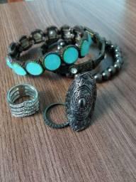 Conjunto 3 anéis e 3 pulseiras