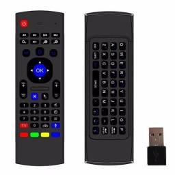 Teclado Mx3 Fly Air Mouse Claro De Fundo 2.4g Controle Remoto Sem Fio Ir