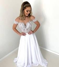 Vestido Noiva Renda Longo Decote Costas Casamento Festa Pre Wedding