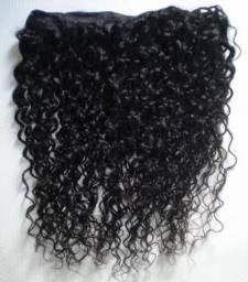 Cabelo humano 45 cm - mega hair cacheado em tela